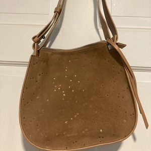 All Saints brown star leather suede purse
